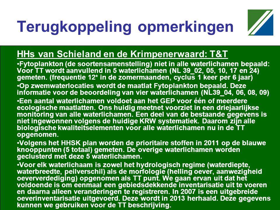 Terugkoppeling opmerkingen HHs van Schieland en de Krimpenerwaard: T&T Fytoplankton (de soortensamenstelling) niet in alle waterlichamen bepaald: Voor TT wordt aanvullend in 5 waterlichamen (NL 39_02, 05, 10, 17 en 24) gemeten.