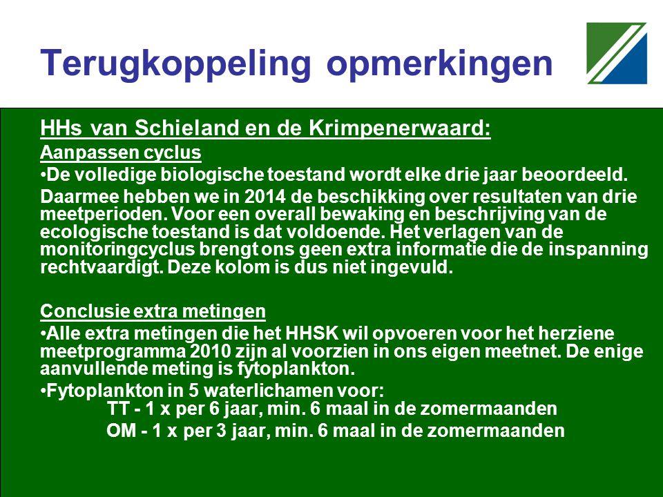Terugkoppeling opmerkingen HHs van Schieland en de Krimpenerwaard: Aanpassen cyclus De volledige biologische toestand wordt elke drie jaar beoordeeld.