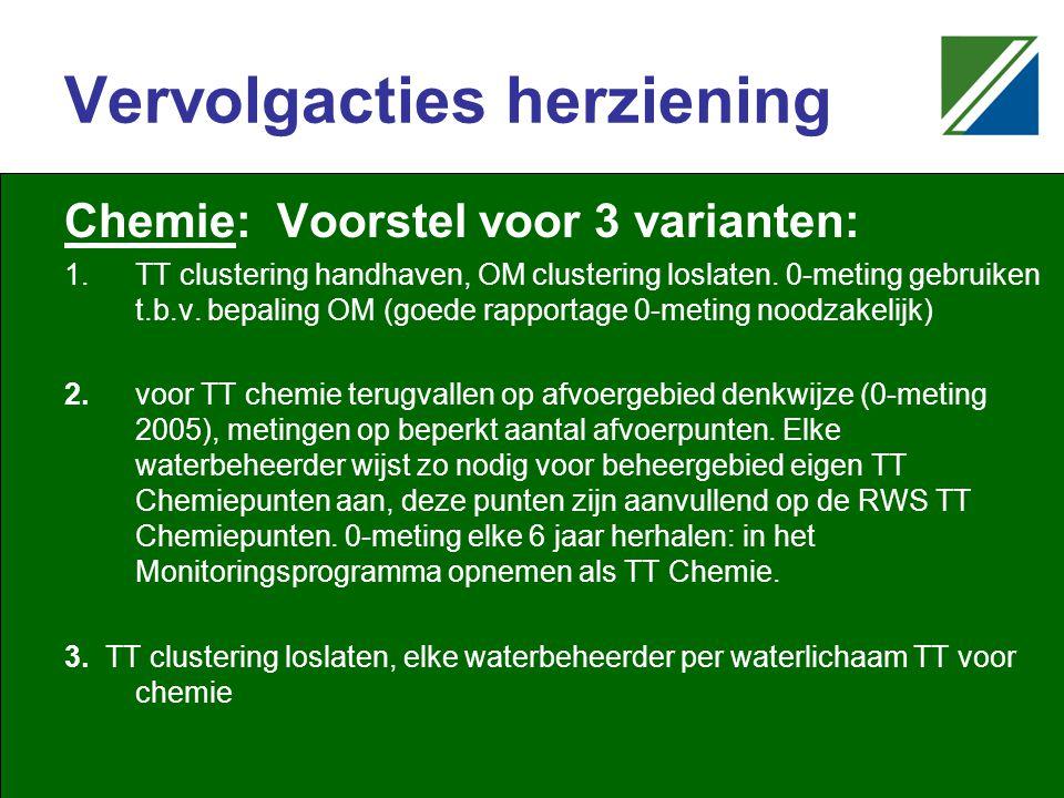 Vervolgacties herziening Chemie: Voorstel voor 3 varianten: 1.TT clustering handhaven, OM clustering loslaten.