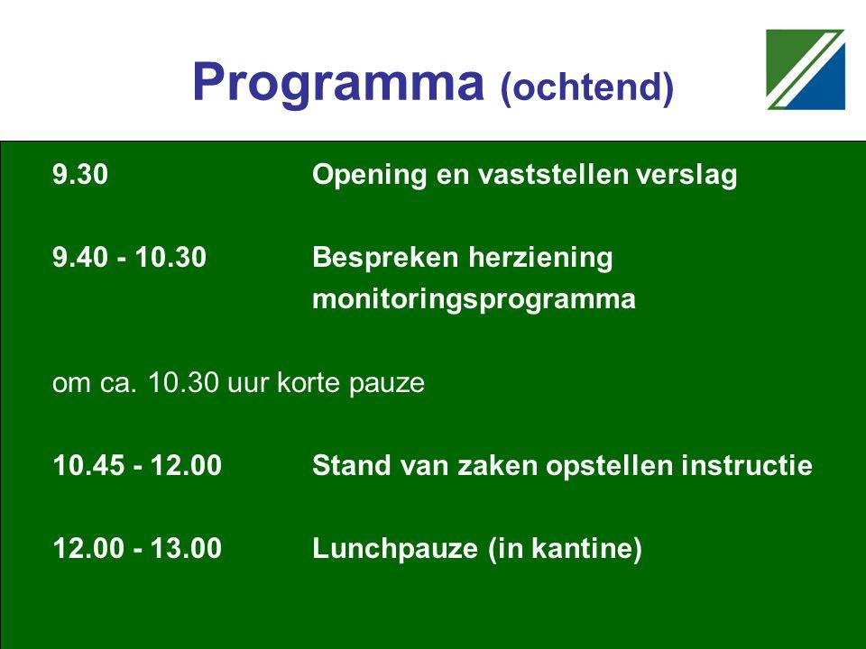 Programma (ochtend) 9.30Opening en vaststellen verslag 9.40 - 10.30Bespreken herziening monitoringsprogramma om ca.