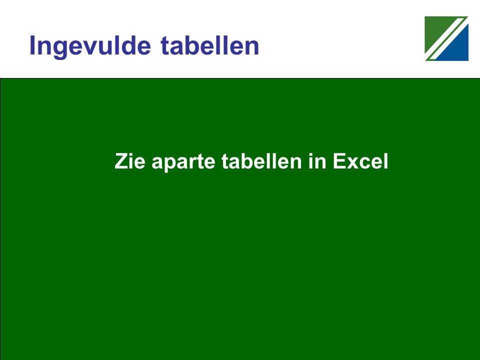 Ingevulde tabellen Zie aparte tabellen in Excel