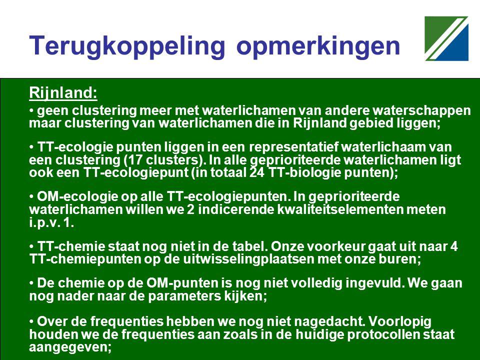 Terugkoppeling opmerkingen Rijnland: geen clustering meer met waterlichamen van andere waterschappen maar clustering van waterlichamen die in Rijnland gebied liggen; TT-ecologie punten liggen in een representatief waterlichaam van een clustering (17 clusters).