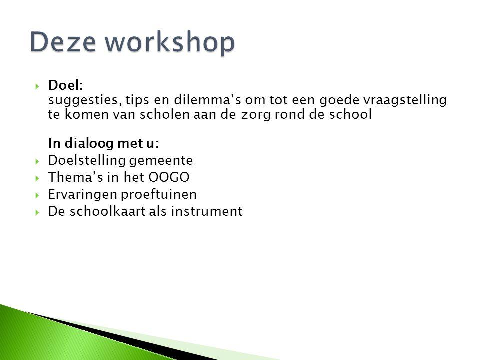  Doel: suggesties, tips en dilemma's om tot een goede vraagstelling te komen van scholen aan de zorg rond de school In dialoog met u:  Doelstelling