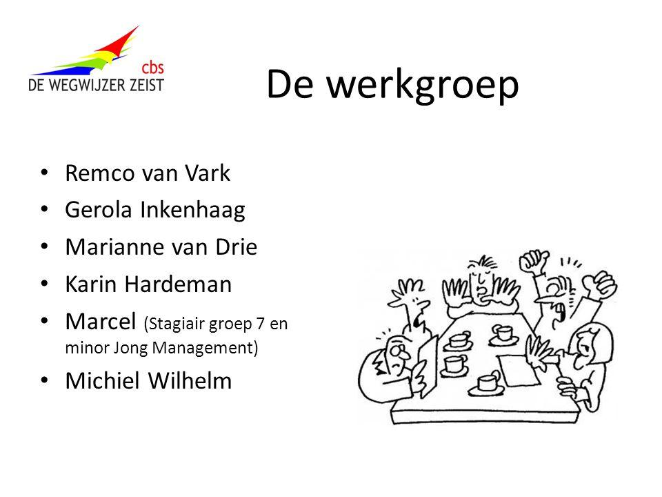 De werkgroep Remco van Vark Gerola Inkenhaag Marianne van Drie Karin Hardeman Marcel (Stagiair groep 7 en minor Jong Management) Michiel Wilhelm