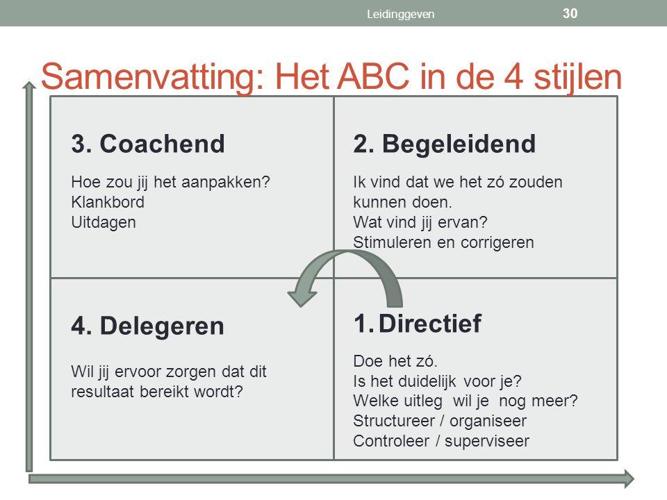 Samenvatting: Het ABC in de 4 stijlen 1.Directief Doe het zó. Is het duidelijk voor je? Welke uitleg wil je nog meer? Structureer / organiseer Control