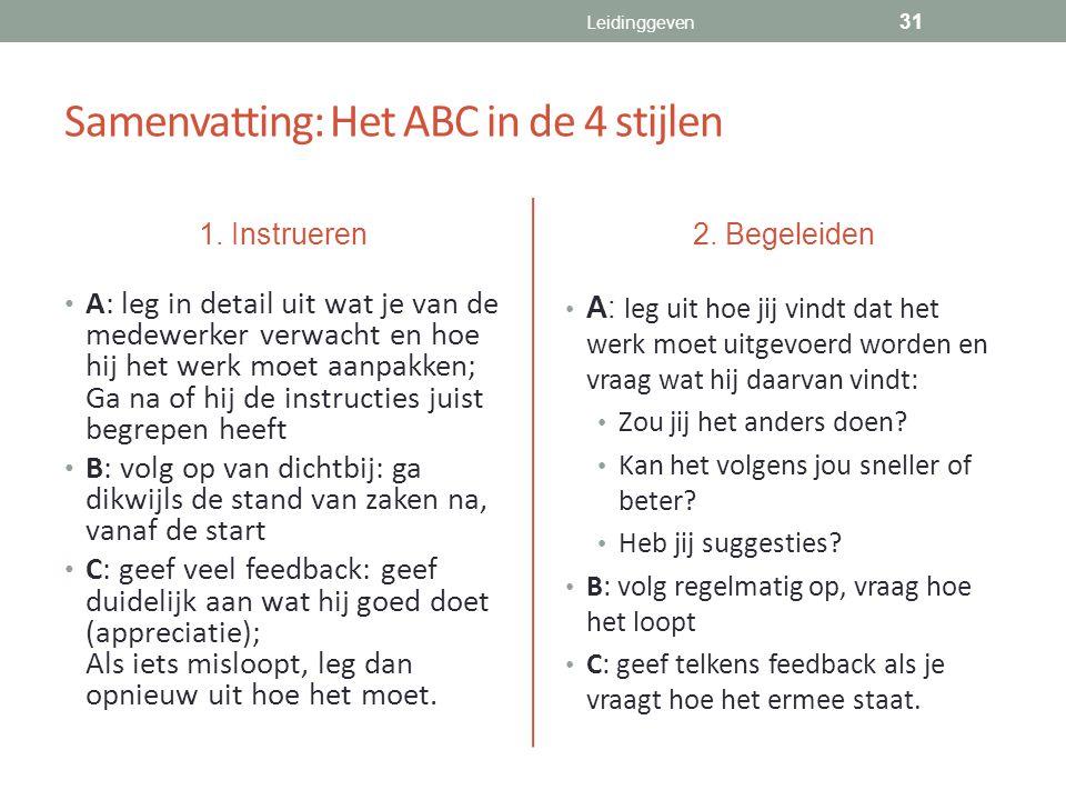 Samenvatting: Het ABC in de 4 stijlen 1. Instrueren A: leg in detail uit wat je van de medewerker verwacht en hoe hij het werk moet aanpakken; Ga na o