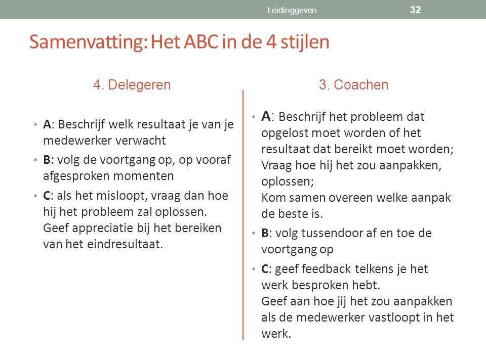 Samenvatting: Het ABC in de 4 stijlen 4. Delegeren A: Beschrijf welk resultaat je van je medewerker verwacht B: volg de voortgang op, op vooraf afgesp
