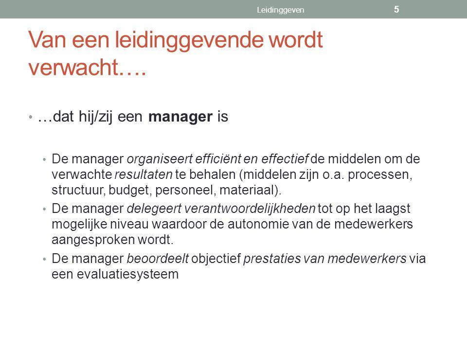…dat hij/zij een manager is De manager organiseert efficiënt en effectief de middelen om de verwachte resultaten te behalen (middelen zijn o.a. proces