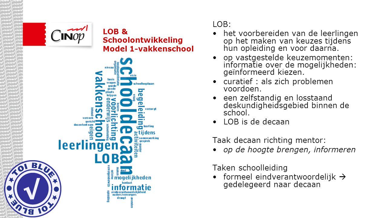 LOB & Schoolontwikkeling Model 1-vakkenschool LOB: het voorbereiden van de leerlingen op het maken van keuzes tijdens hun opleiding en voor daarna. op