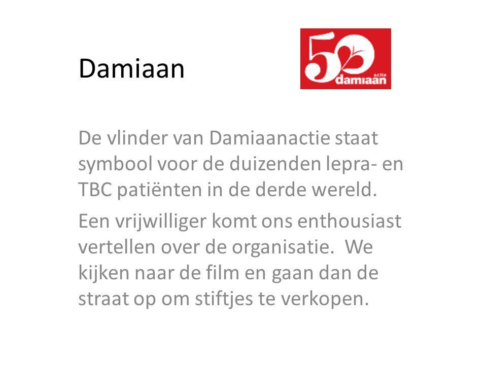 Damiaan De vlinder van Damiaanactie staat symbool voor de duizenden lepra- en TBC patiënten in de derde wereld.