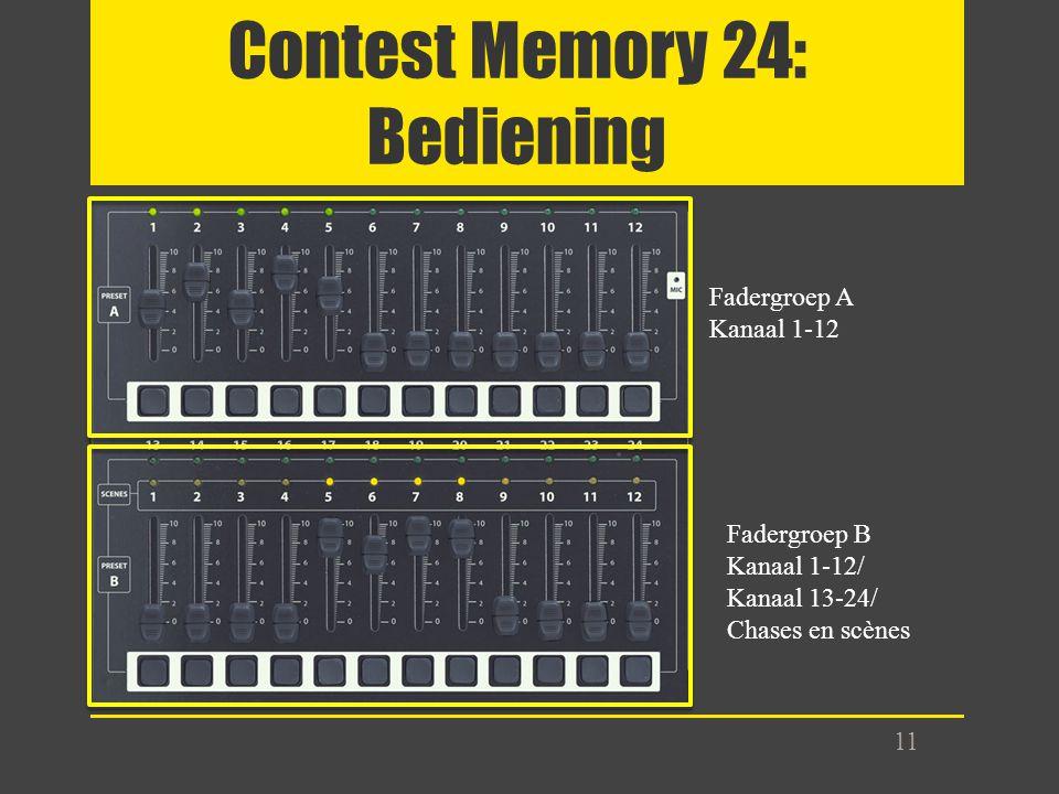 Contest Memory 24: Bediening 11 Fadergroep A Kanaal 1-12 Fadergroep B Kanaal 1-12/ Kanaal 13-24/ Chases en scènes