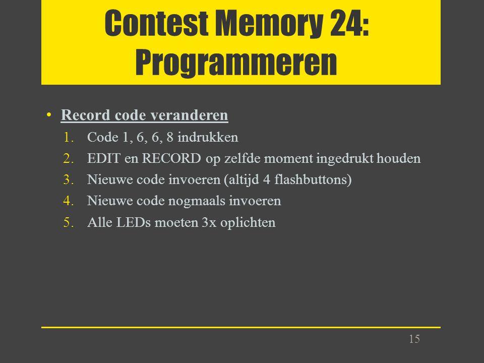 Contest Memory 24: Programmeren Record code veranderen 1.Code 1, 6, 6, 8 indrukken 2.EDIT en RECORD op zelfde moment ingedrukt houden 3.Nieuwe code in