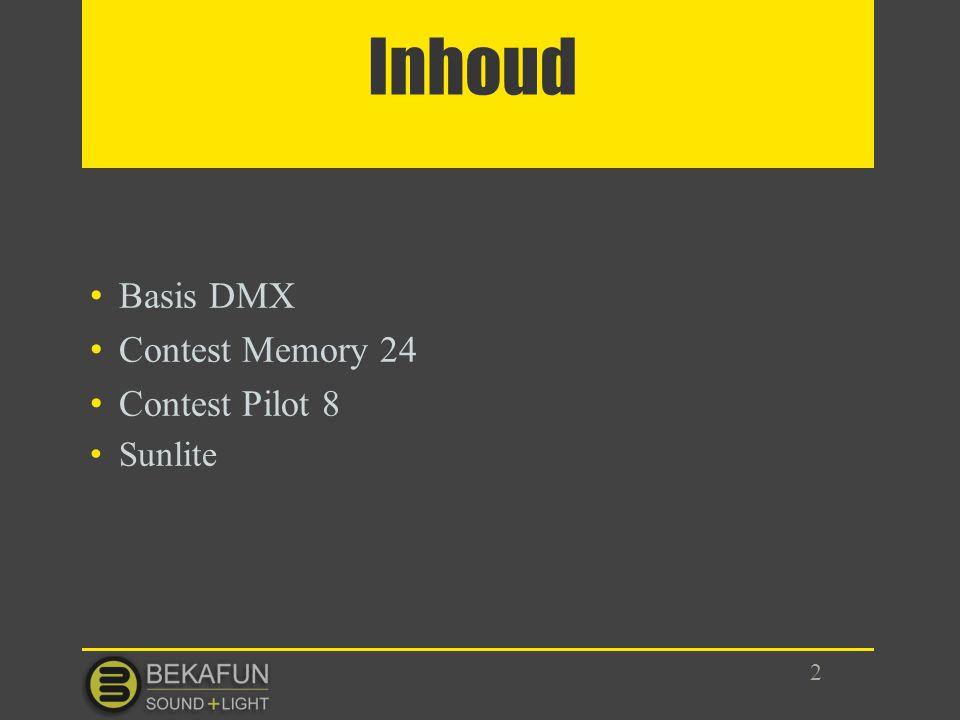 Inhoud Basis DMX Contest Memory 24 Contest Pilot 8 Sunlite 2