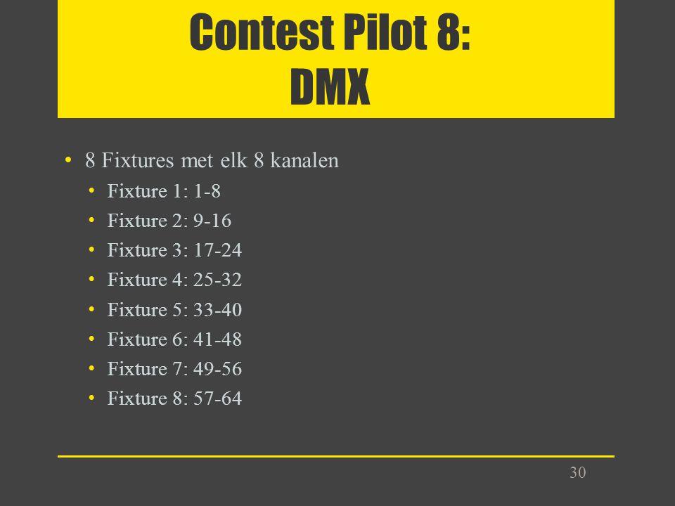 Contest Pilot 8: DMX 8 Fixtures met elk 8 kanalen Fixture 1: 1-8 Fixture 2: 9-16 Fixture 3: 17-24 Fixture 4: 25-32 Fixture 5: 33-40 Fixture 6: 41-48 F