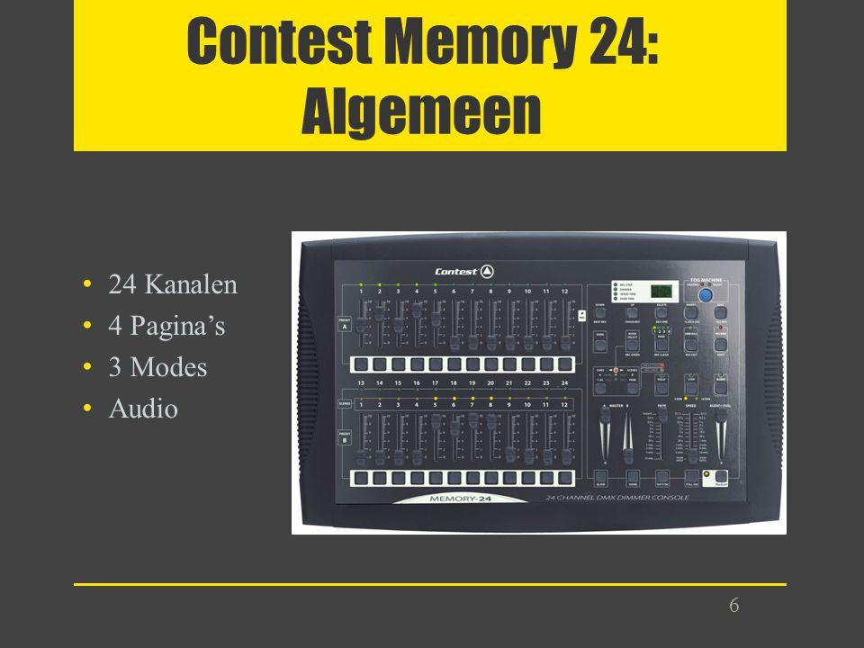 Contest Memory 24: Algemeen 24 Kanalen 4 Pagina's 3 Modes Audio 6