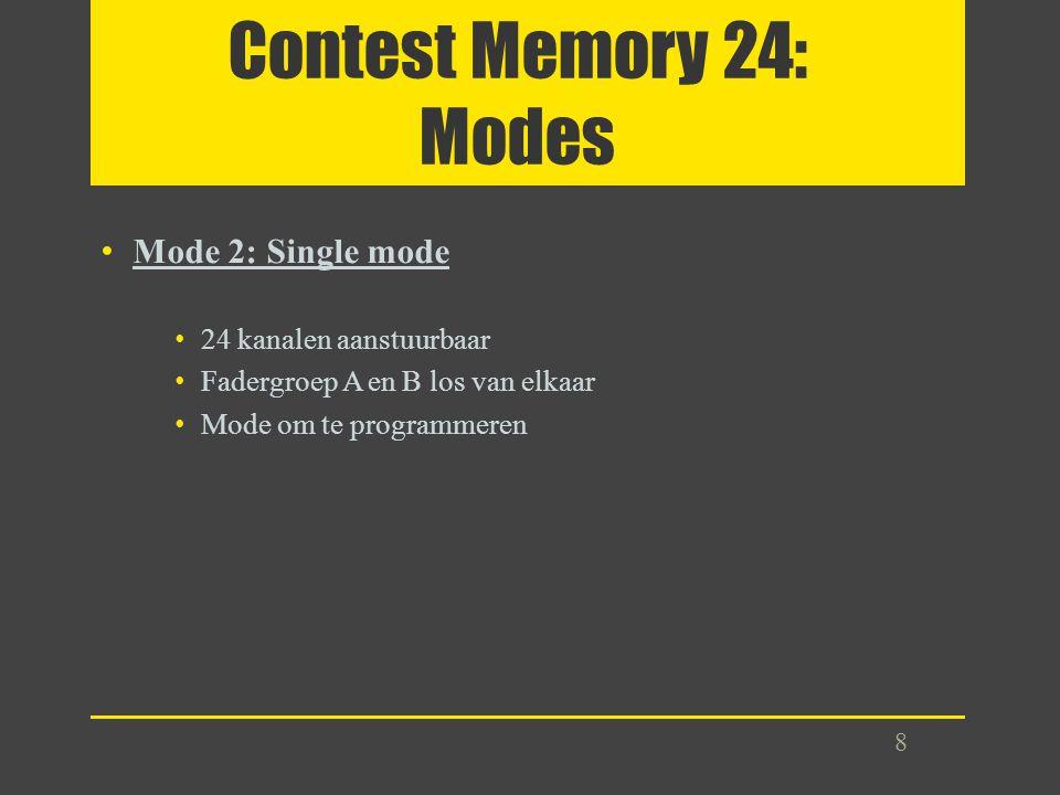 Contest Memory 24: Modes Mode 2: Single mode 24 kanalen aanstuurbaar Fadergroep A en B los van elkaar Mode om te programmeren 8