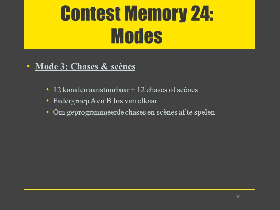 Contest Memory 24: Modes Mode 3: Chases & scènes 12 kanalen aanstuurbaar + 12 chases of scènes Fadergroep A en B los van elkaar Om geprogrammeerde cha