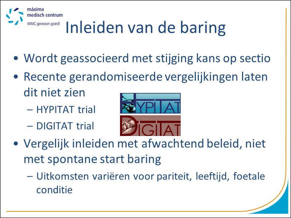 Inleiden van de baring Wordt geassocieerd met stijging kans op sectio Recente gerandomiseerde vergelijkingen laten dit niet zien –HYPITAT trial –DIGIT