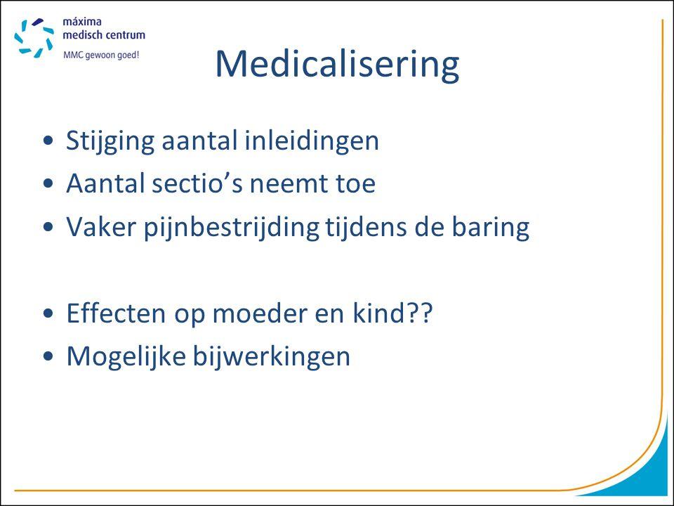 Medicalisering Stijging aantal inleidingen Aantal sectio's neemt toe Vaker pijnbestrijding tijdens de baring Effecten op moeder en kind?? Mogelijke bi