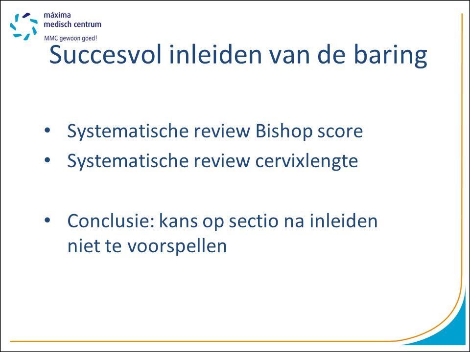 Succesvol inleiden van de baring Systematische review Bishop score Systematische review cervixlengte Conclusie: kans op sectio na inleiden niet te voo