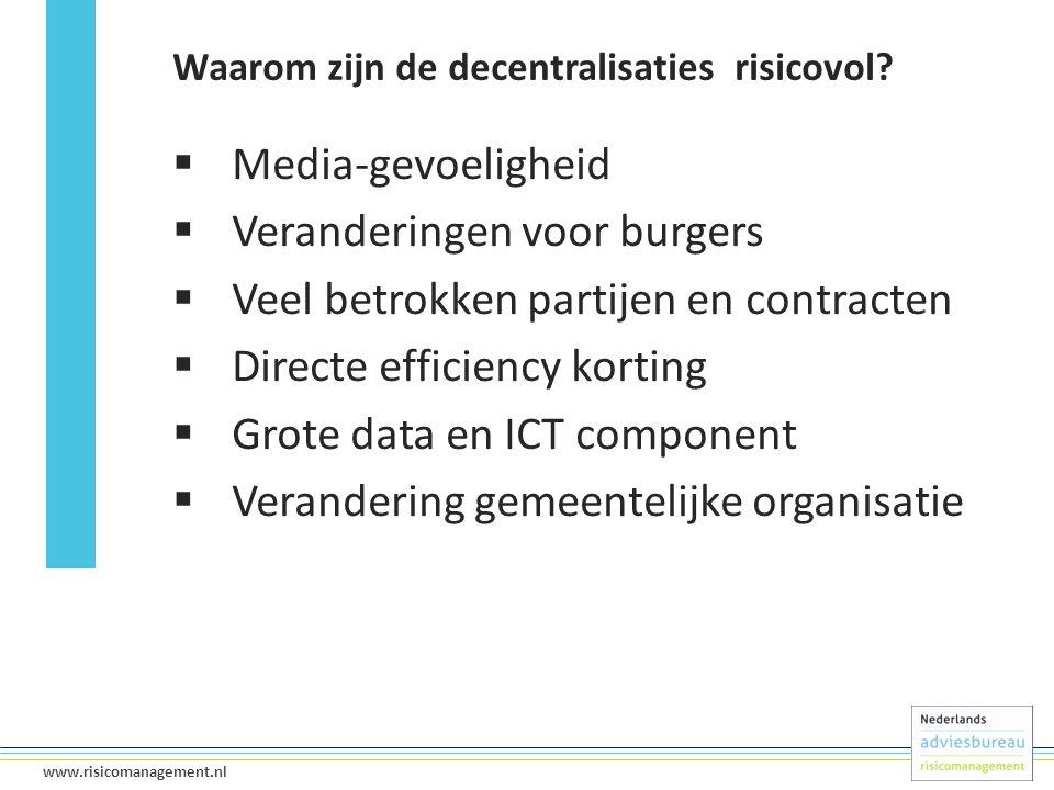 10 www.risicomanagement.nl  Media-gevoeligheid  Veranderingen voor burgers  Veel betrokken partijen en contracten  Directe efficiency korting  Gr