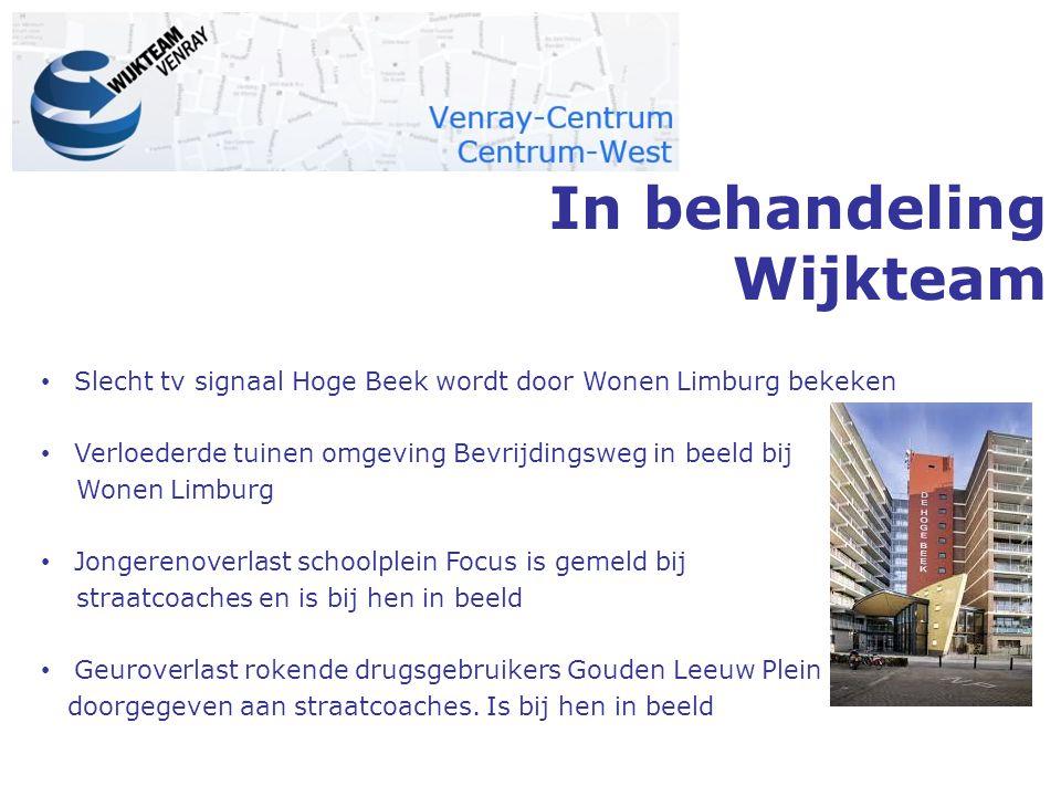 In behandeling Wijkteam Slecht tv signaal Hoge Beek wordt door Wonen Limburg bekeken Verloederde tuinen omgeving Bevrijdingsweg in beeld bij Wonen Lim