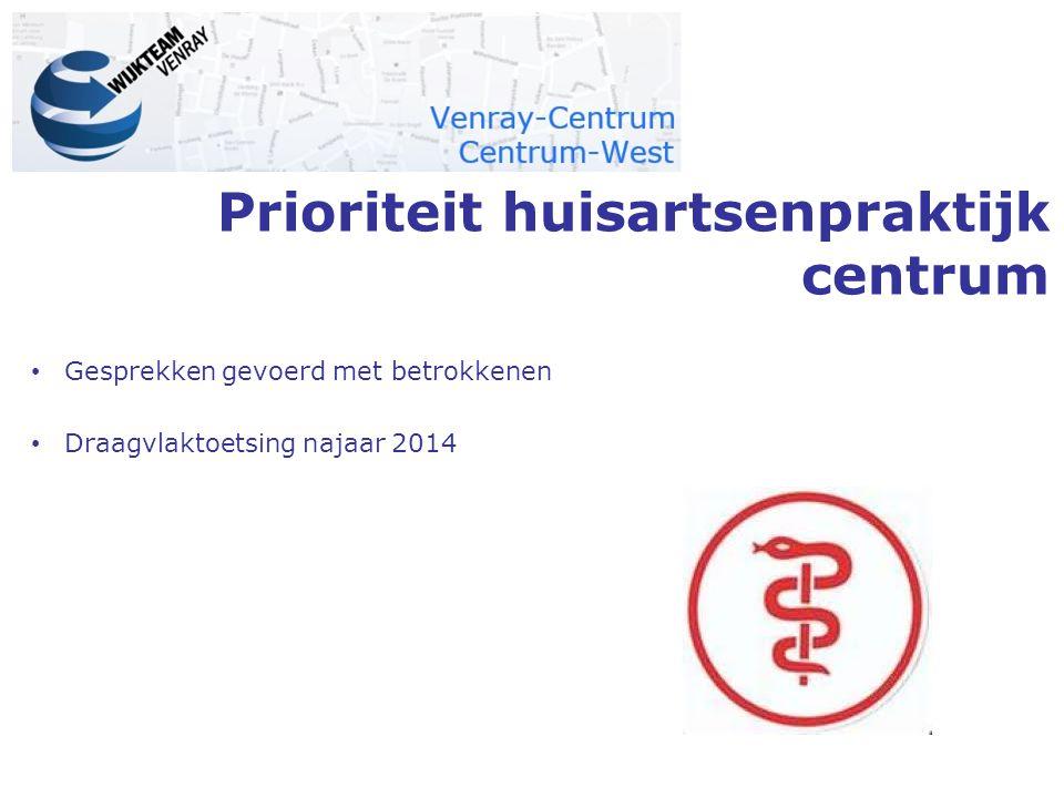Prioriteit huisartsenpraktijk centrum Gesprekken gevoerd met betrokkenen Draagvlaktoetsing najaar 2014