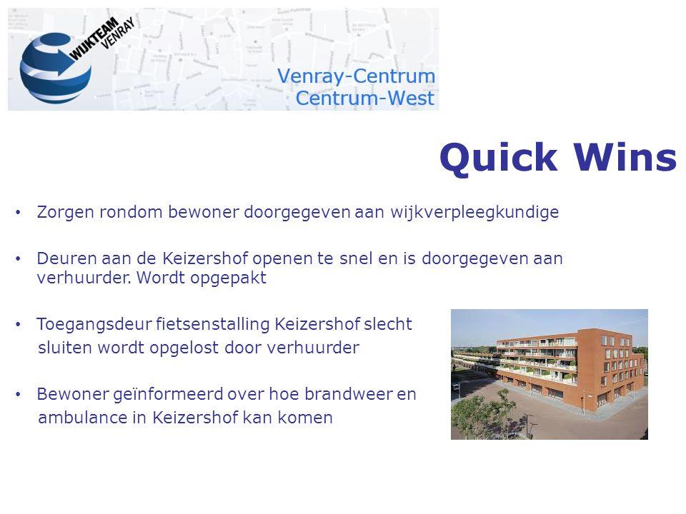 Quick Wins Zorgen rondom bewoner doorgegeven aan wijkverpleegkundige Deuren aan de Keizershof openen te snel en is doorgegeven aan verhuurder. Wordt o