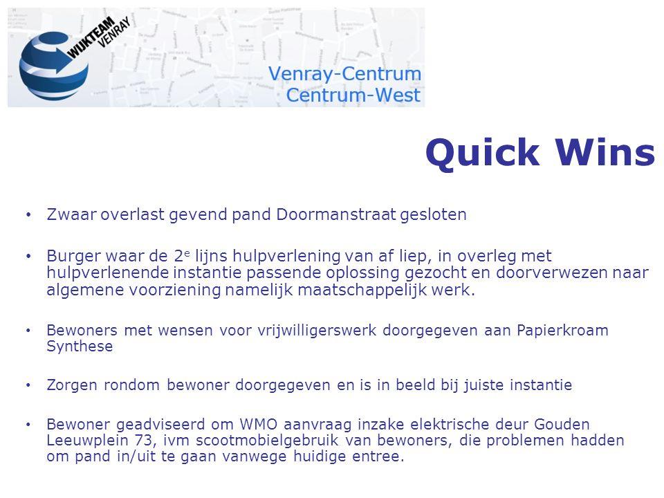 Quick Wins Zwaar overlast gevend pand Doormanstraat gesloten Burger waar de 2 e lijns hulpverlening van af liep, in overleg met hulpverlenende instant
