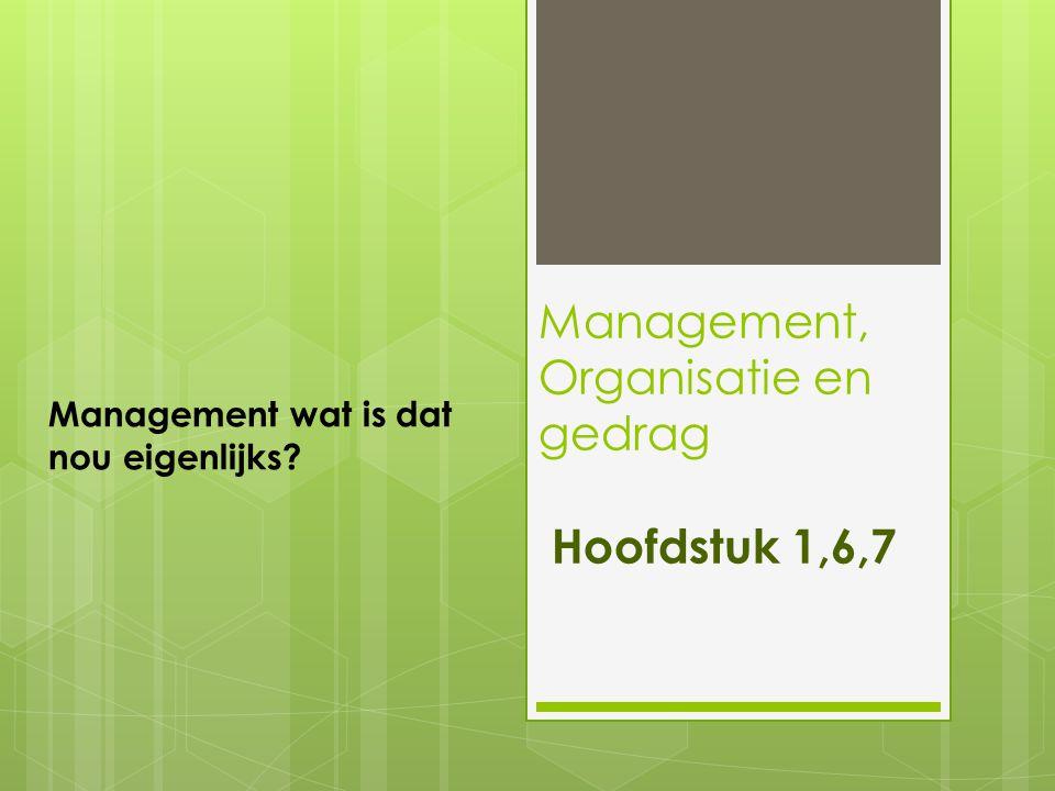Management, Organisatie en gedrag Hoofdstuk 1,6,7 Management wat is dat nou eigenlijks?