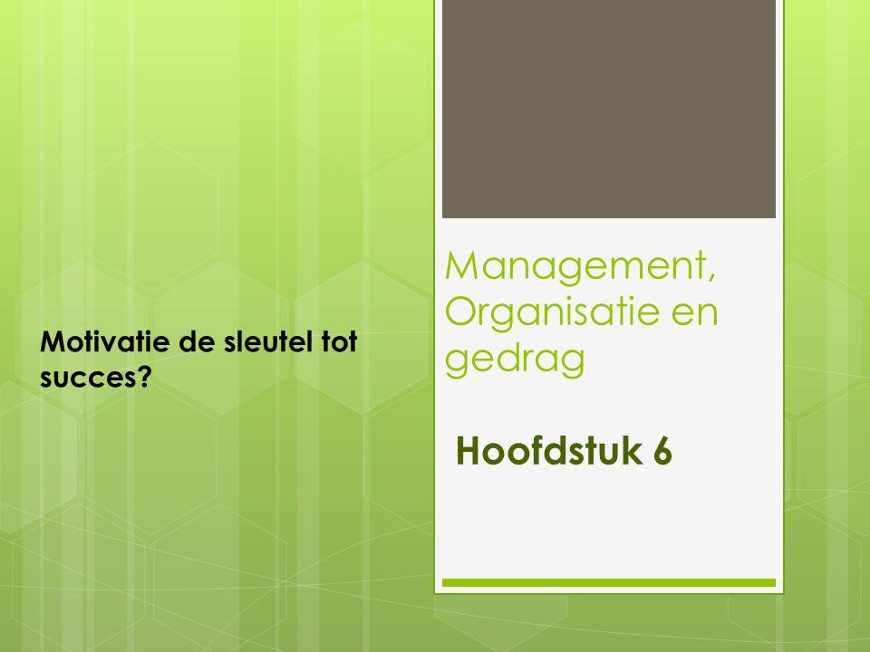 Management, Organisatie en gedrag Hoofdstuk 6 Motivatie de sleutel tot succes?