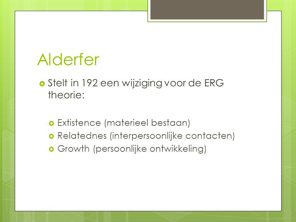 Alderfer  Stelt in 192 een wijziging voor de ERG theorie:  Extistence (materieel bestaan)  Relatednes (interpersoonlijke contacten)  Growth (perso