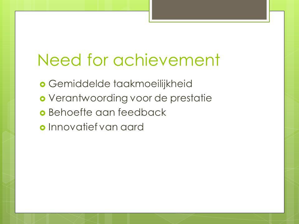 Need for achievement  Gemiddelde taakmoeilijkheid  Verantwoording voor de prestatie  Behoefte aan feedback  Innovatief van aard