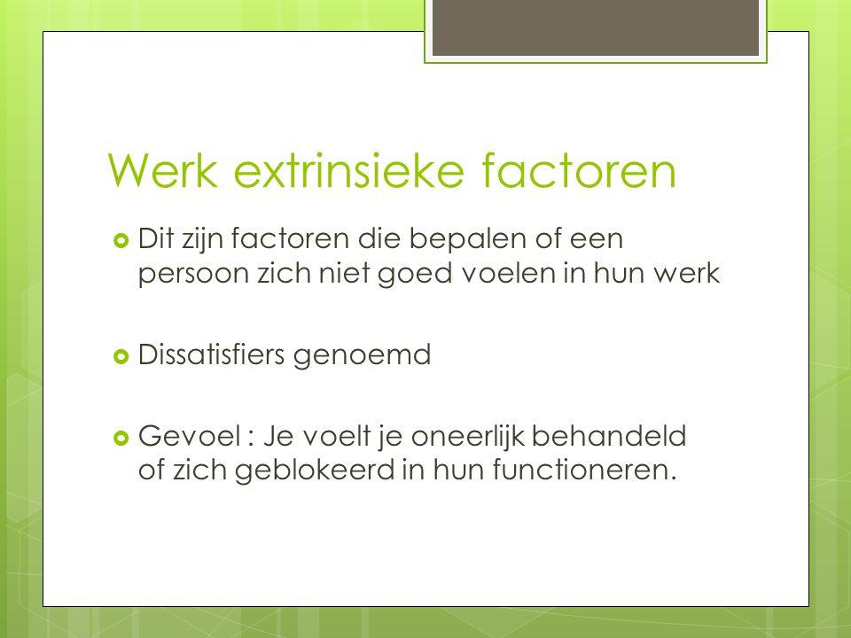 Werk extrinsieke factoren  Dit zijn factoren die bepalen of een persoon zich niet goed voelen in hun werk  Dissatisfiers genoemd  Gevoel : Je voelt