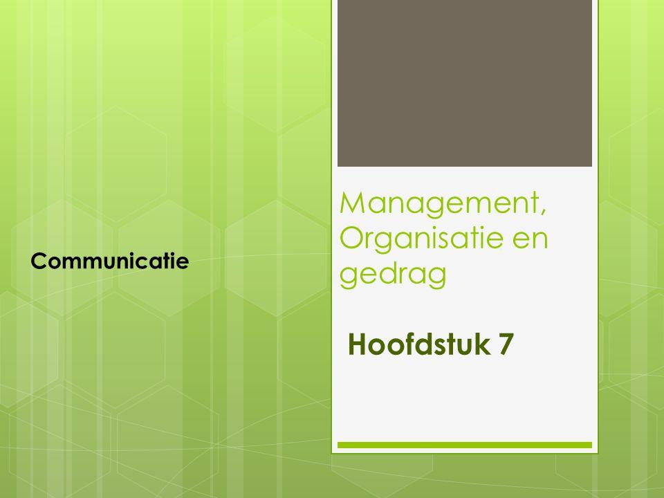 Management, Organisatie en gedrag Hoofdstuk 7 Communicatie