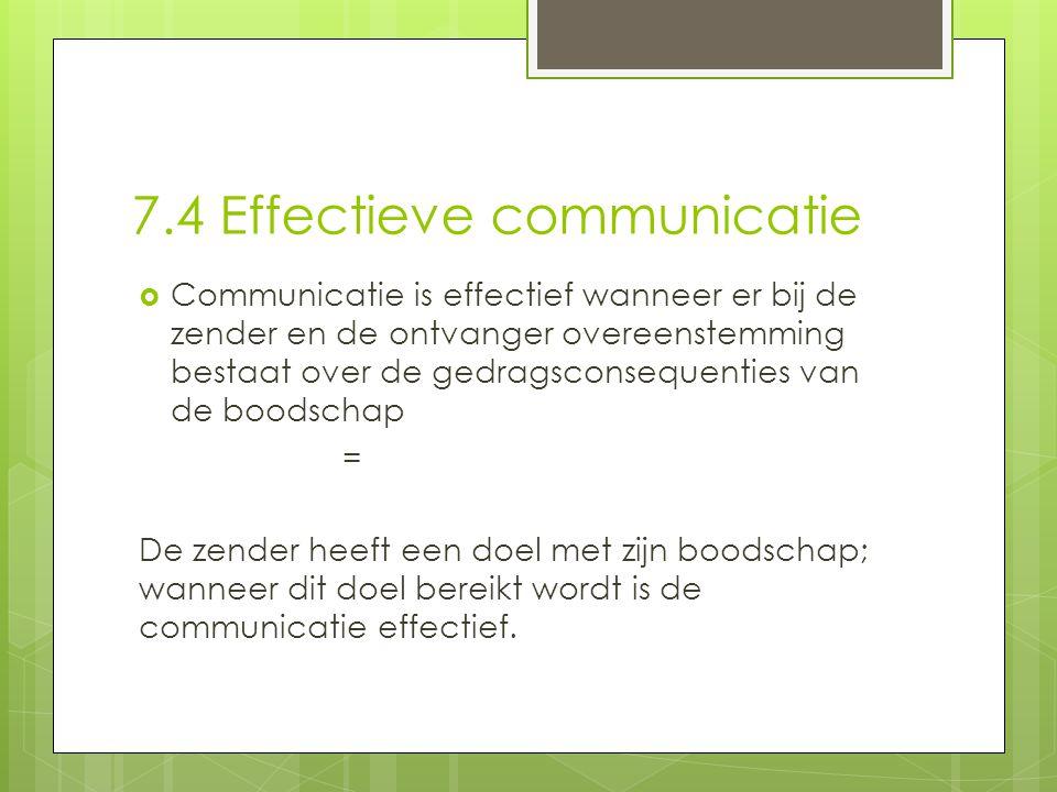 7.4 Effectieve communicatie  Communicatie is effectief wanneer er bij de zender en de ontvanger overeenstemming bestaat over de gedragsconsequenties
