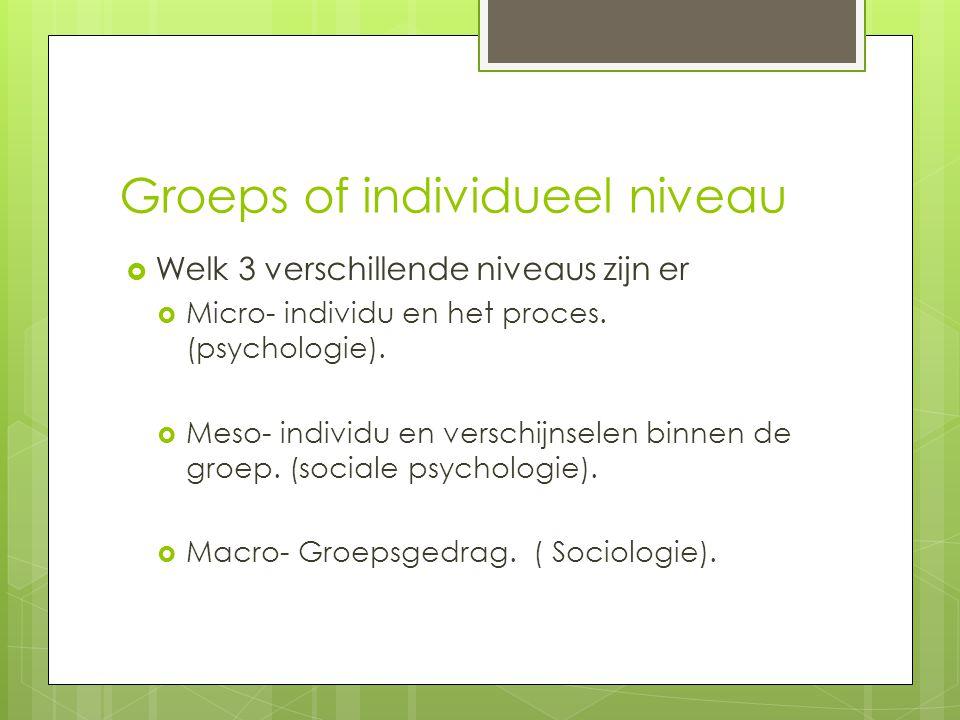 Groeps of individueel niveau  Welk 3 verschillende niveaus zijn er  Micro- individu en het proces. (psychologie).  Meso- individu en verschijnselen