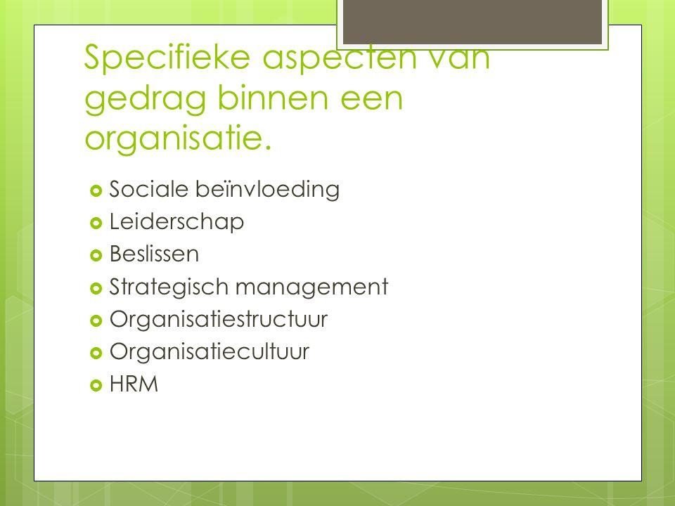 Specifieke aspecten van gedrag binnen een organisatie.  Sociale beïnvloeding  Leiderschap  Beslissen  Strategisch management  Organisatiestructuu