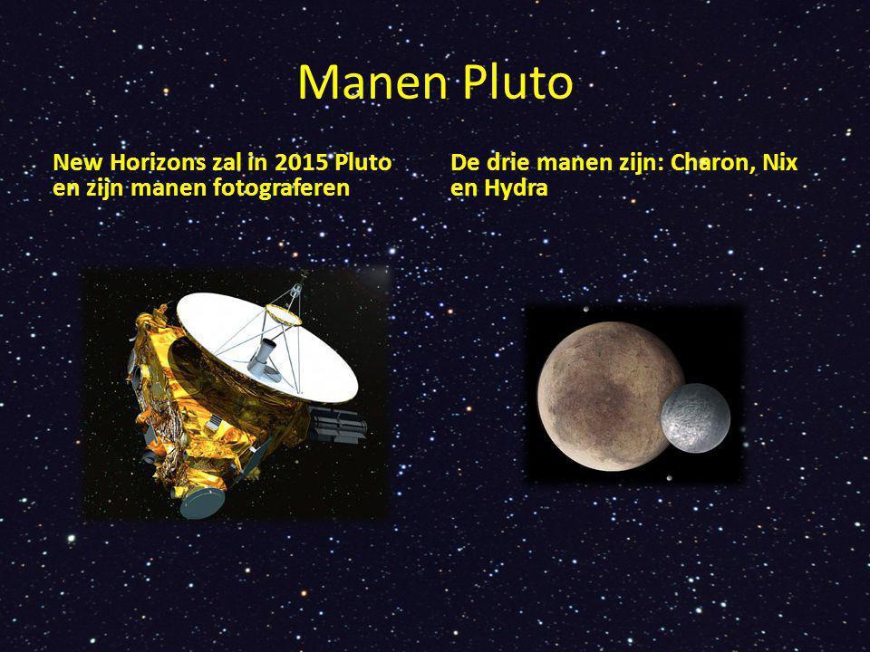 Algemene informatie Pluto is 4500 miljoen km van de zon Net zo groot als onze maan Het is er altijd koud, - 270 graden Celsius De planeet doet er 248 jaar over om een rondje om de zon te maken (een jaar) Om zijn eigen as draait Pluto in 6,4 dagen.