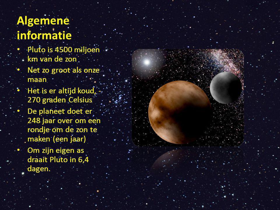 Algemene informatie Pluto is 4500 miljoen km van de zon Net zo groot als onze maan Het is er altijd koud, - 270 graden Celsius De planeet doet er 248