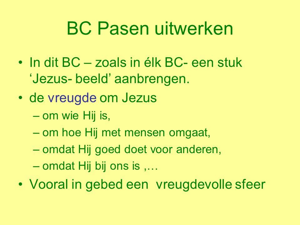 BC Pasen uitwerken In dit BC – zoals in élk BC- een stuk 'Jezus- beeld' aanbrengen.