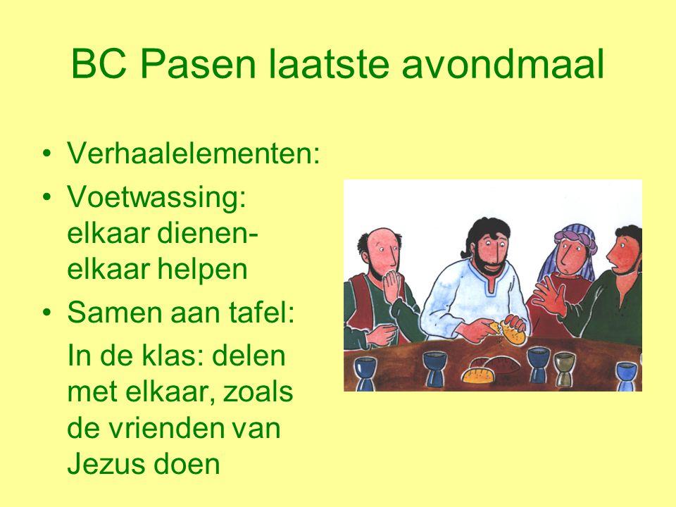 BC Pasen laatste avondmaal Verhaalelementen: Voetwassing: elkaar dienen- elkaar helpen Samen aan tafel: In de klas: delen met elkaar, zoals de vrienden van Jezus doen