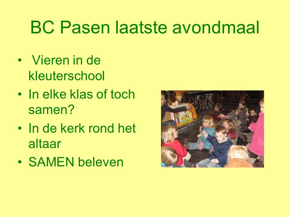 BC Pasen laatste avondmaal Vieren in de kleuterschool In elke klas of toch samen.