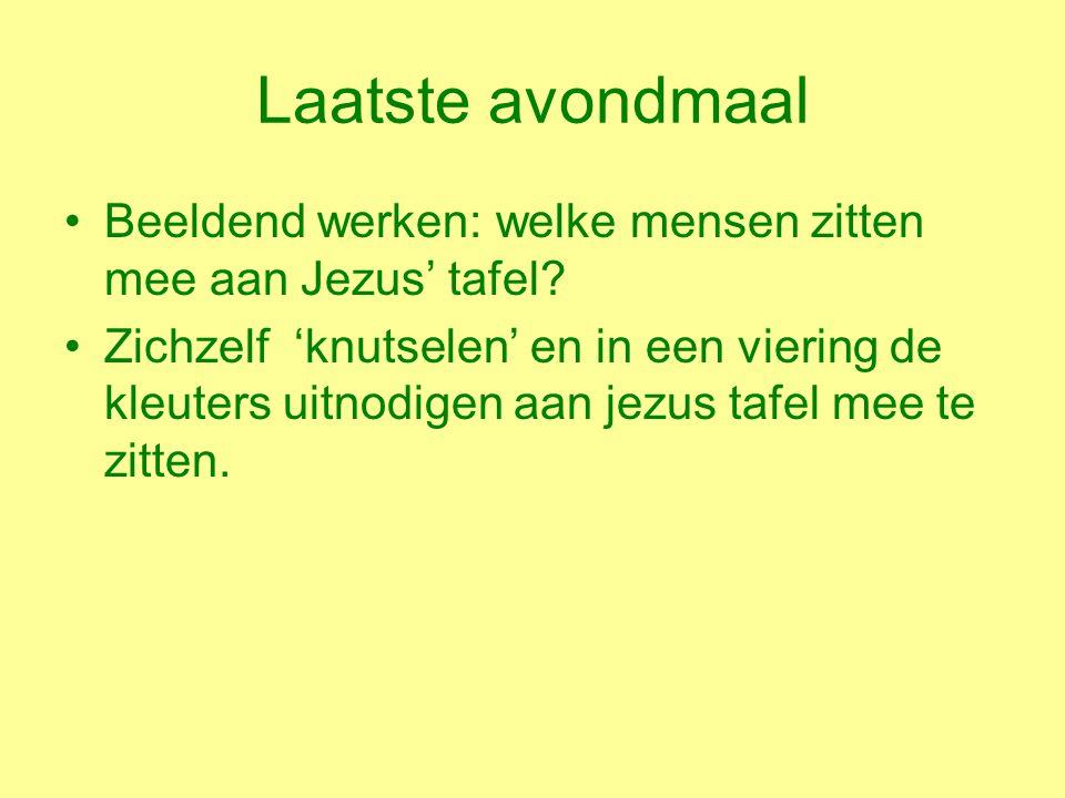 Laatste avondmaal Beeldend werken: welke mensen zitten mee aan Jezus' tafel.