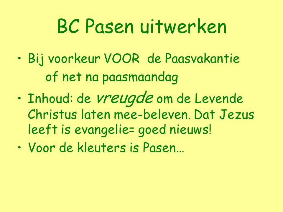 BC Pasen uitwerken Bij voorkeur VOOR de Paasvakantie of net na paasmaandag Inhoud: de vreugde om de Levende Christus laten mee-beleven.