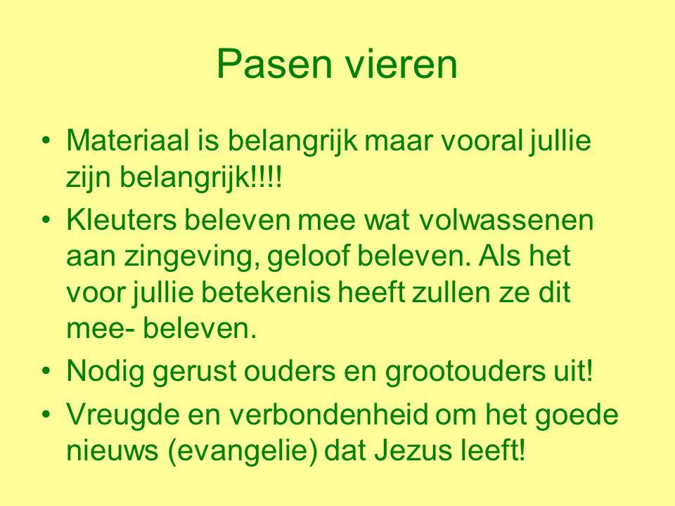 Pasen vieren Materiaal is belangrijk maar vooral jullie zijn belangrijk!!!.