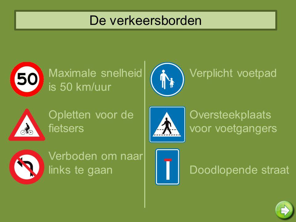 De verkeersborden Maximale snelheid is 50 km/uur Opletten voor de fietsers Verboden om naar links te gaan Verplicht voetpad Oversteekplaats voor voetg
