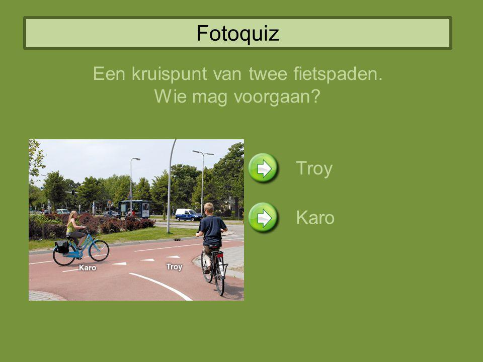 Fotoquiz Een kruispunt van twee fietspaden. Wie mag voorgaan? Troy Karo