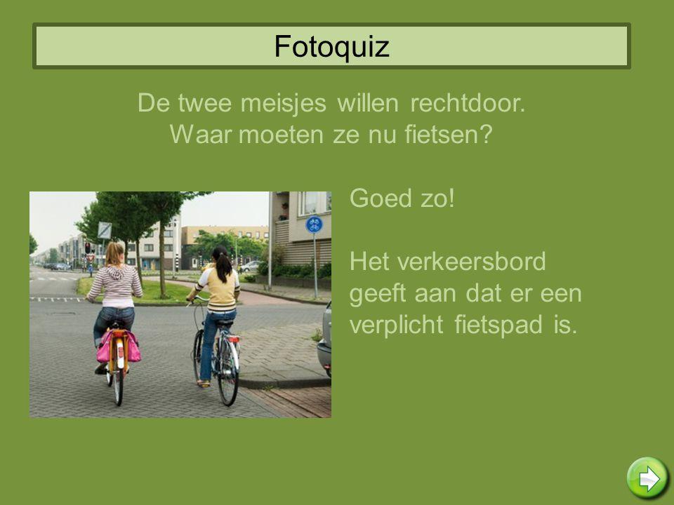 Fotoquiz Goed zo! Het verkeersbord geeft aan dat er een verplicht fietspad is. De twee meisjes willen rechtdoor. Waar moeten ze nu fietsen?