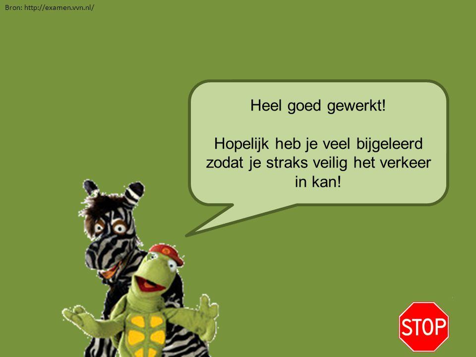 Heel goed gewerkt! Hopelijk heb je veel bijgeleerd zodat je straks veilig het verkeer in kan! Bron: http://examen.vvn.nl/